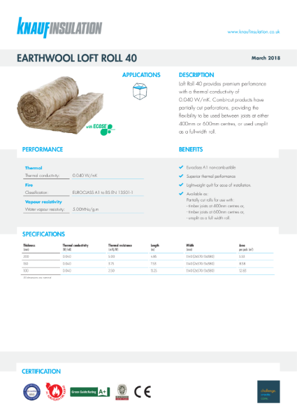 Knauf Insulation Loft Roll 40 Insulation Data Sheet