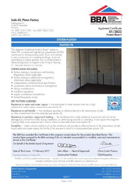 BBA Certificate 01/3823_4 System Platon - Platon P8