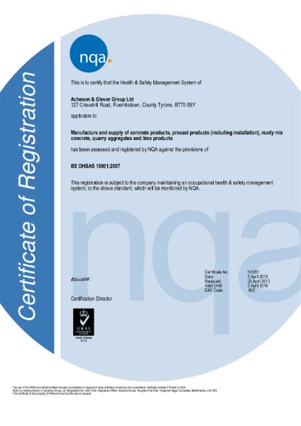 BS OHSAS 18001: 2007 Certificate