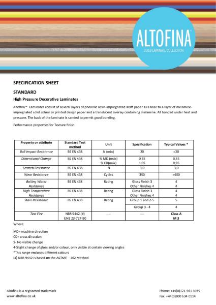 Altofina Specification