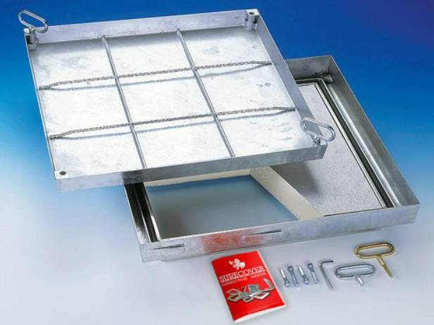 Stainless Steel Floor Access Doors - Fire Rated, Insulated, Lift Out Hinged - SBVE
