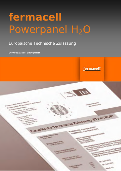 Powerpanel H2O ETA Certificate