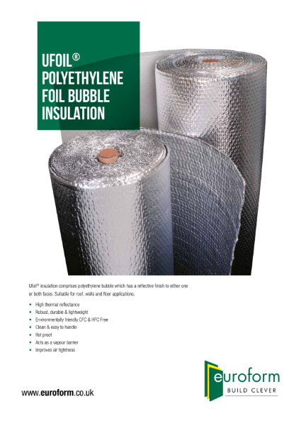 Ufoil Bubble Insulation Leaflet