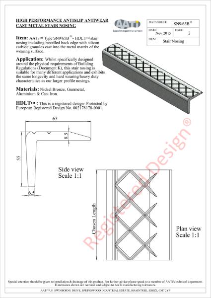 Stair Nosing Anti-slip type SN9/65B® Cast metal