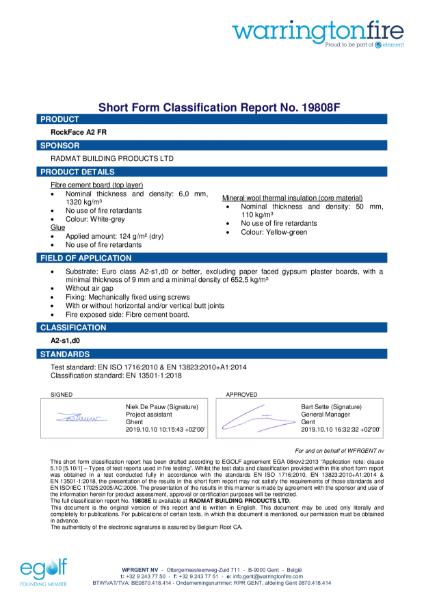 Short Form Classification Report No. 19808F