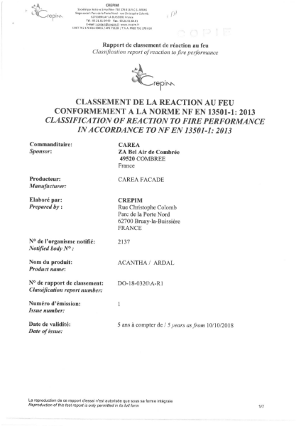 Classification of Reaction to Fire Performance in Accordance to NF EN 13501-1