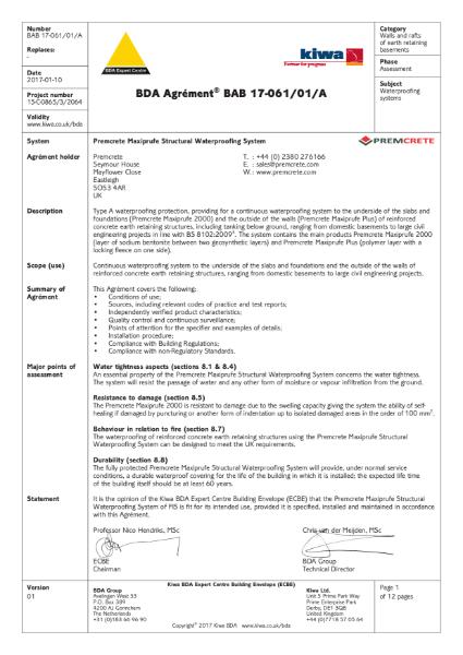 BDA Certificate