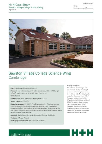 Case Study - Sawston Village College Science Wing