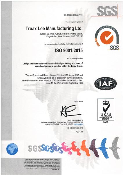 BS EN ISO 9001:2015 Certificate (Industrial steel)