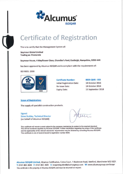 ISO 9001:2008 Certificate - Premcrete