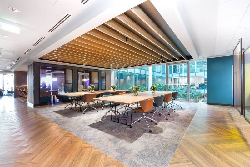 Timber Slatted Ceilings in Oxford Street Offices
