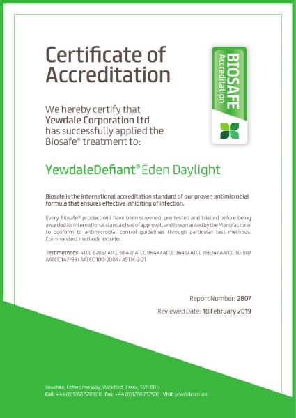 Biosafe anti-bacterial Defiant Eden daylight fabric certifcate