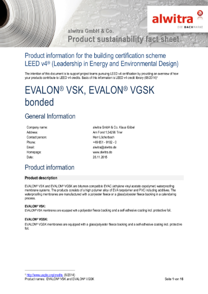 LEED Certification Evalon VSK