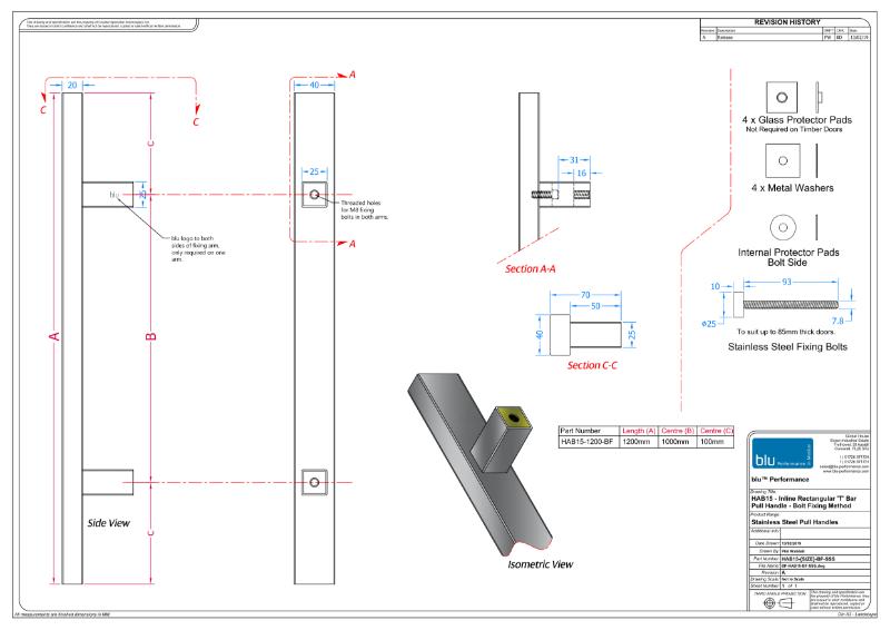 BLU™ - HAB15 Inline Rectangular 'T' Bar Pull Handle Bolt Fix