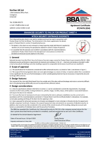 07/4476_ES4  NTECH SECURITY ENTRANCE DOORSETS
