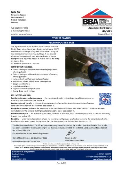 BBA Certificate 01/3823_3 Platon Plaster Base