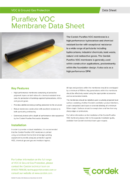 Cordek Puraflex VOC Membrane Data Sheet