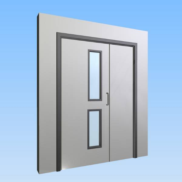 CS Acrovyn® Impact Resistant Doorset - Unequal pair with type VP4 Vision Panel