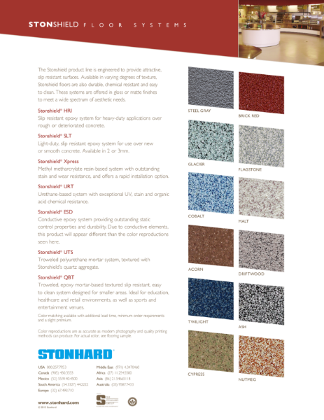Stonshield Resin Flooring Systems Colour Chart