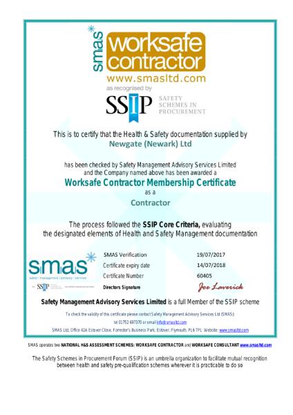 SMAS Worksafe Contractor Certificate