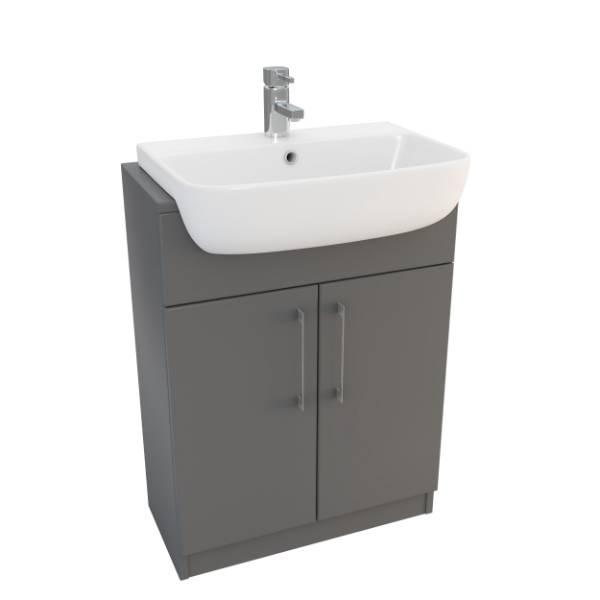 Designer Series 6 55 cm 1TH semi-recessed basin