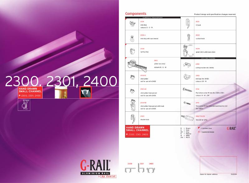 G-Rail hand drawn small channel - 2300, 2301, 2400
