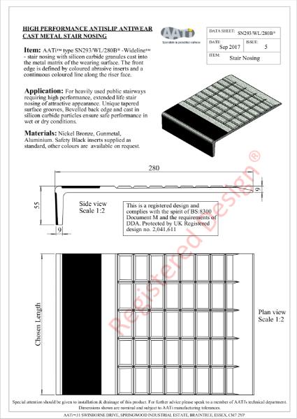 Stair Nosing Anti-slip SN293/WL/280B® Cast metal