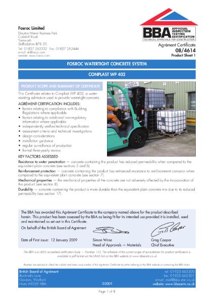 08/4614 Fosroc watertight concrete system