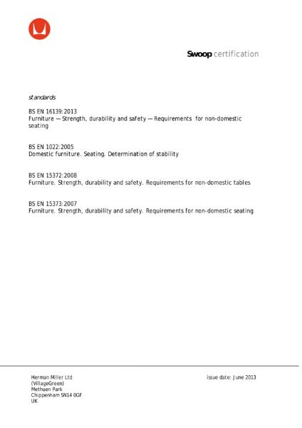 Swoop Lounge Furniture - Certificate