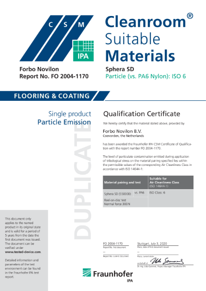 Forbo Sphera SD Fraunhofer Particle Emission Certificate