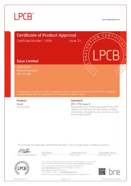 Duo8 LPS1175 SR1 Gate Certificate