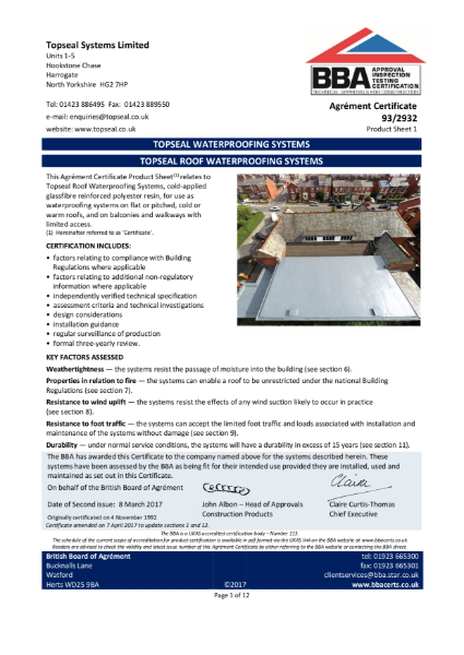 93/2932 TOPSEAL WATERPROOFING SYSTEMS