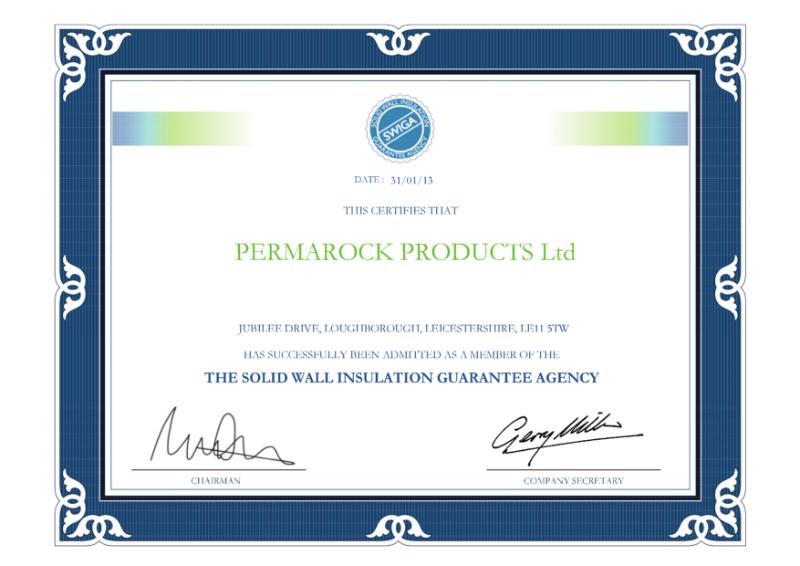 PermaRock Soild Wall Insulation Guarantee Agency (SWIGA) Membership Certificate