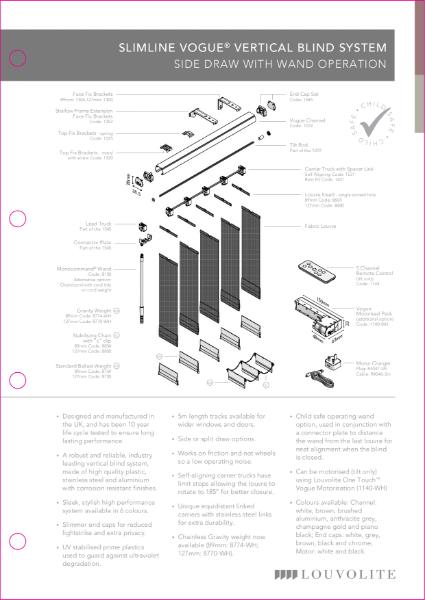Slimline Vogue Vertical Technical Specification