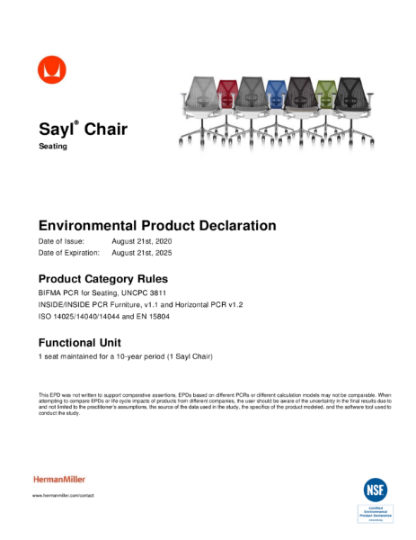 Sayl Chair - Environmental Product Declaration
