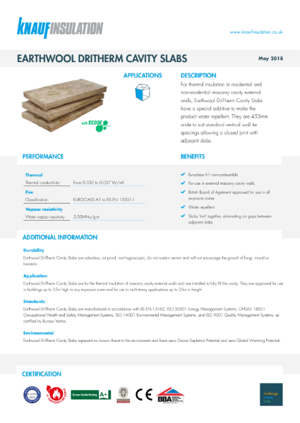 Knauf Insulation DriTherm 32 Ultimate Cavity Slab Insulation Data Sheet