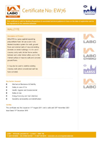 LABC Certificate - Walltite