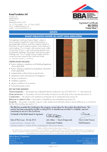 Knauf Insulation Supafil® Cavity Wall Insulation BBA Certificate 88/2033