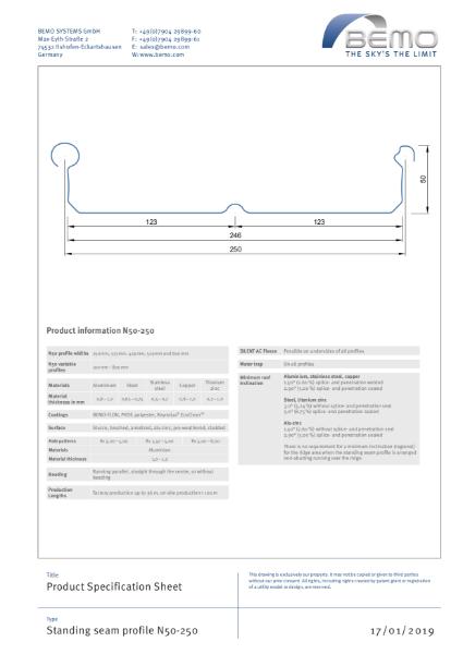 BEMO N50 Standing Seam Profile