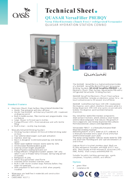P8EBQY Wall Mount Drinking Fountain & Hands-Free Bottle Filler With QUASAR UV Out