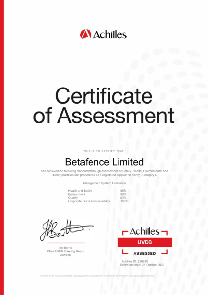 Betafence Achilles Audit Certificate