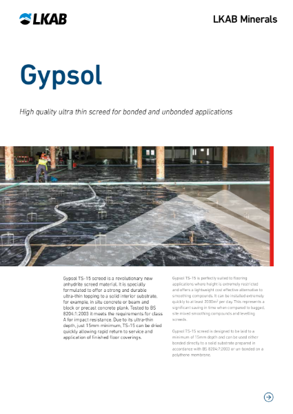 Gypsol TS-15 Ultra Thin Flowing Screed