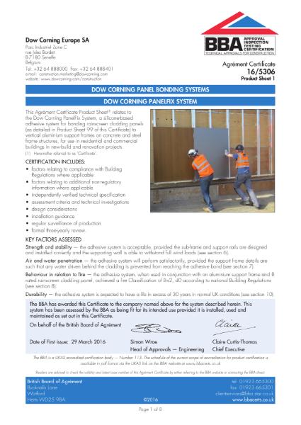 BBA Certificate DOWSIL PanelFix System