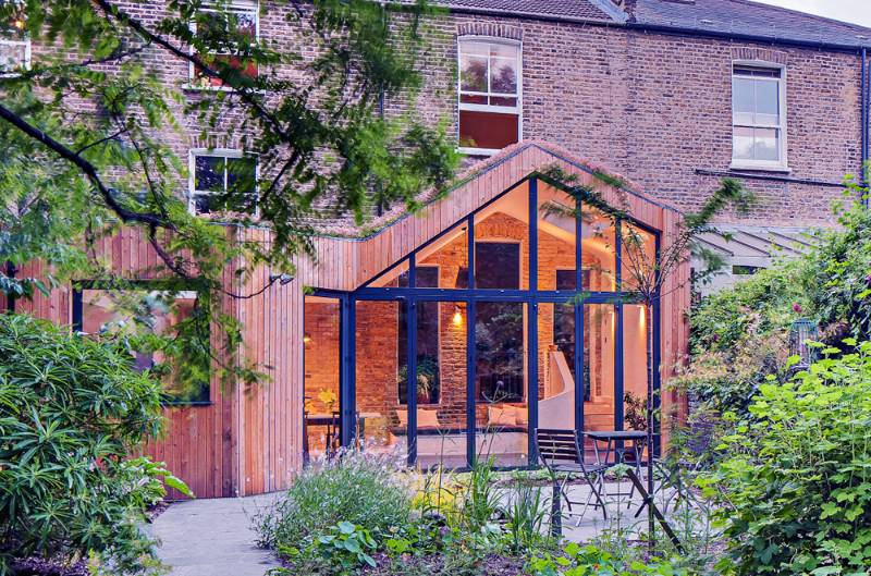 Clapton Villa   Green-roofed, timber clad extension to a Victorian villa - Clapton, London