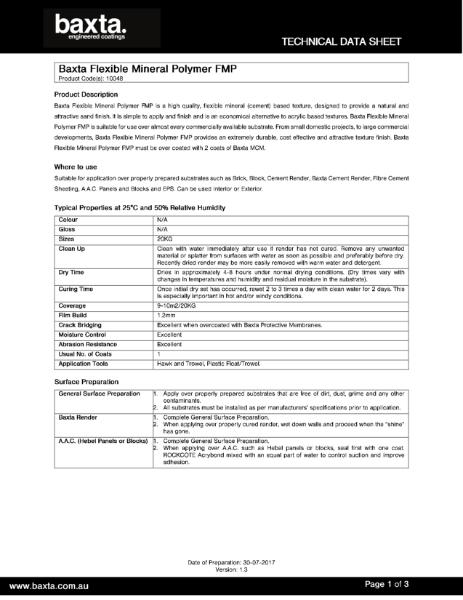 Technical data sheet flexible Mineral Polymer.