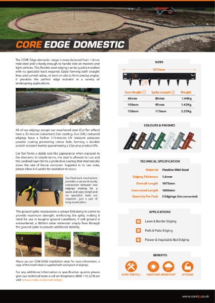 CORE EDGE Domestic Metal Edging Specification Sheet