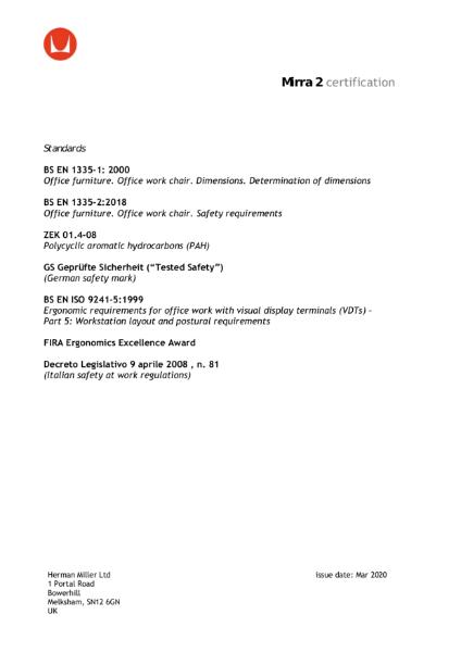 Mirra 2 Certifications