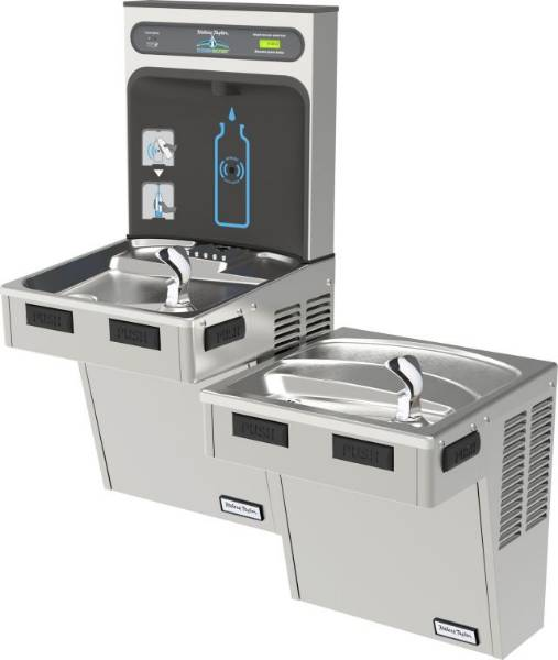 Bottle Filler / Drinking Fountain Bi-Level Combination Unit - Halsey Taylor HTHB-HAC8BLSS-WF