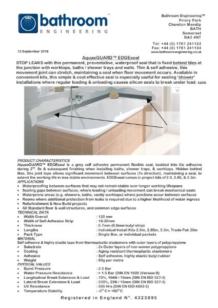 Waterproof Membrane AquaeGuard EdgeSeal
