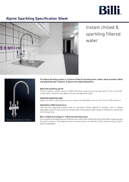 Billi Alpine Sparkling - Filtered Water System - Data Sheet